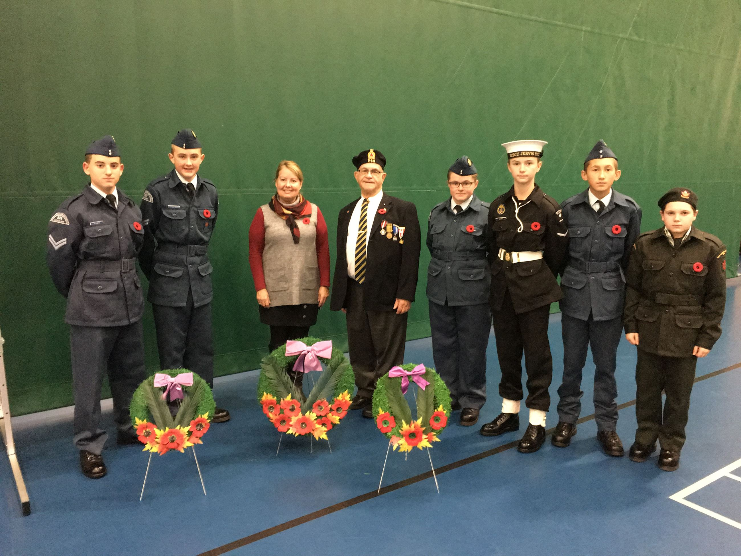 Young cadets in front of wreaths