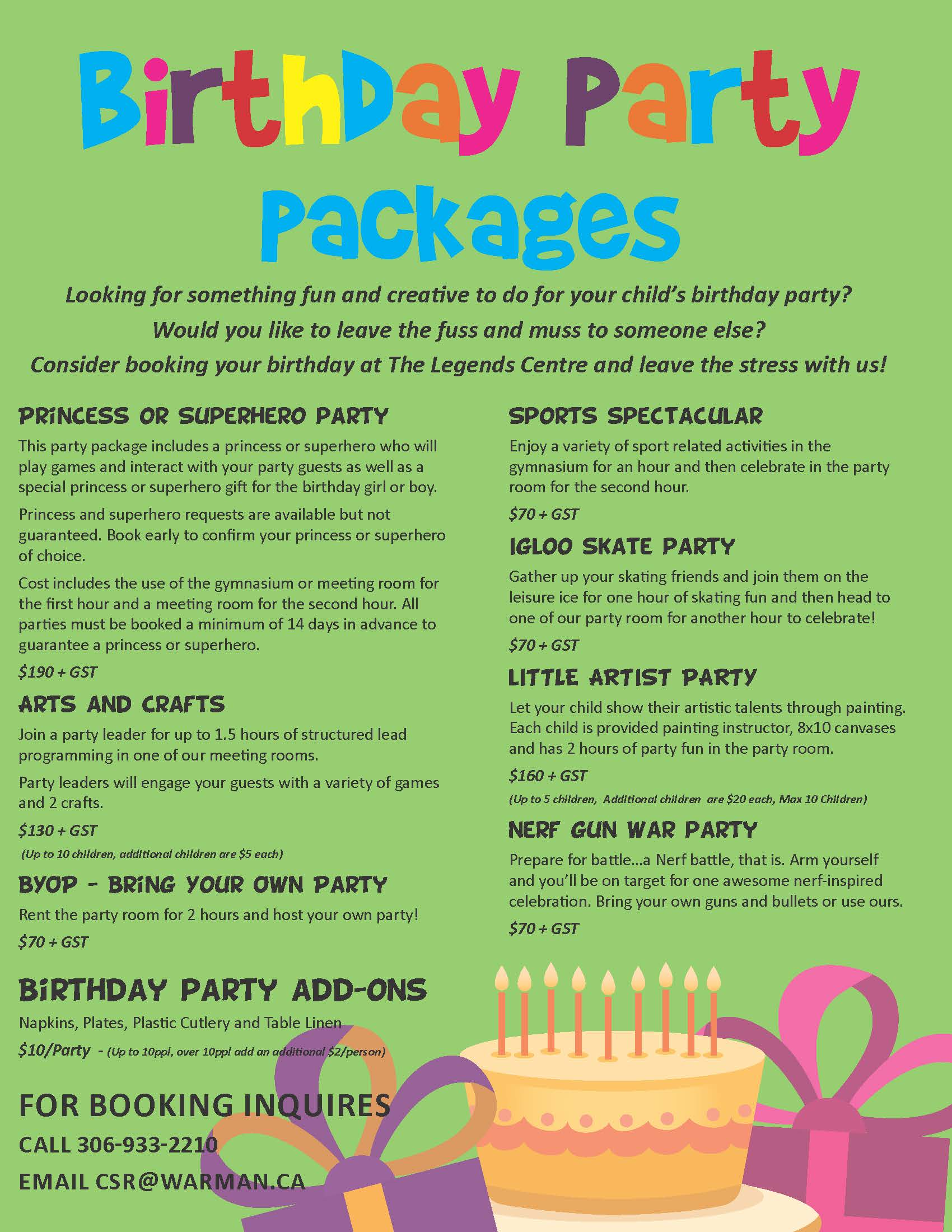 Birthday Party Package 2019