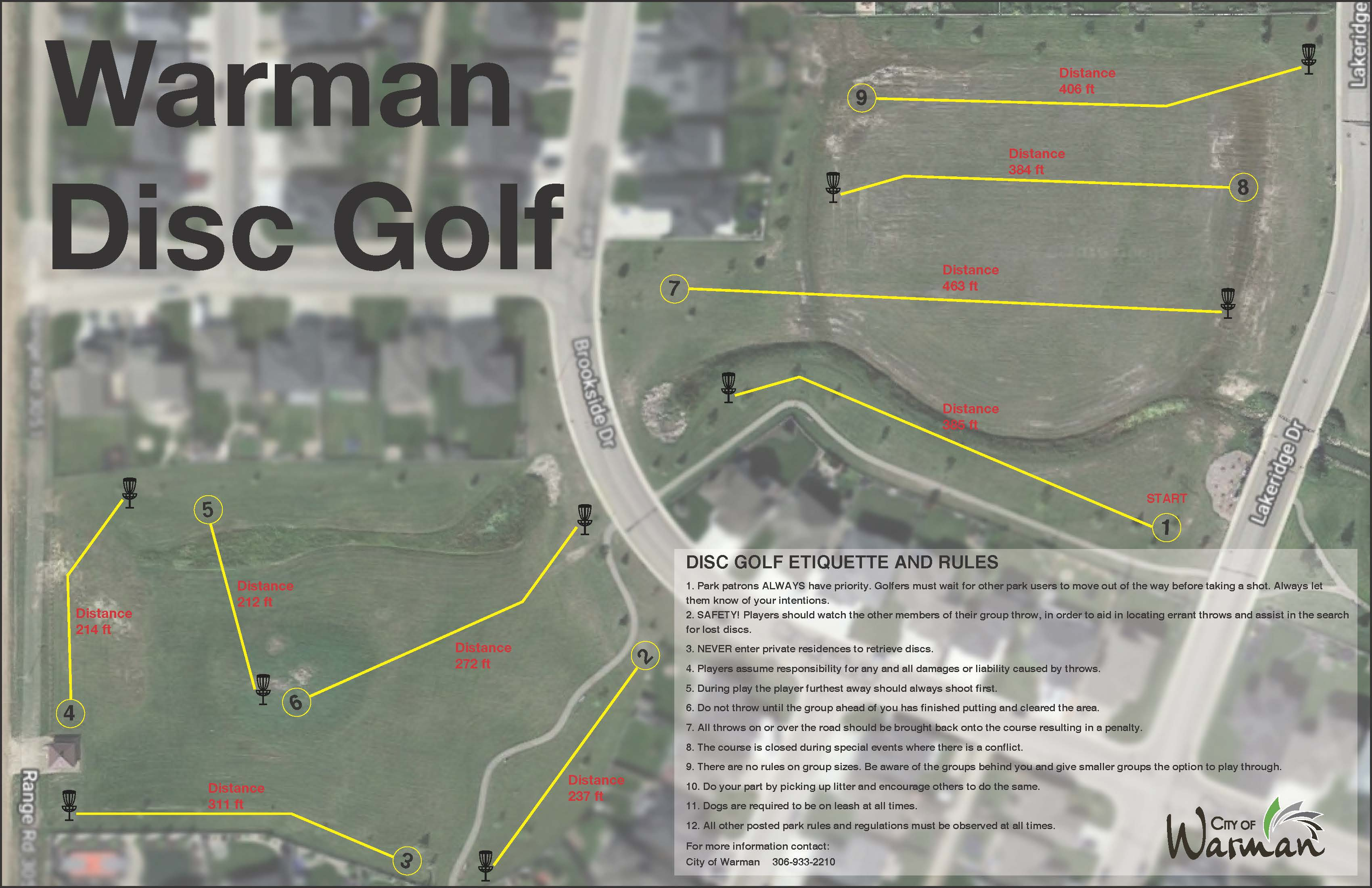 Disc Golf Course Map 2019 Park Sign2 with distances